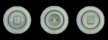 Porcelánové zásuvky a vypínače kulaté Mulier Klasik modrá patina