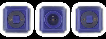 Hranaté vypínače a zásuvky Jindřich modrá vesmírná. Tmavě modrá barva a jemné zdobení ruční linkou taženou po obvodu.