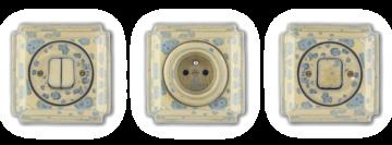 Retro vypínače hranaté vyrobené z porcelánu. Glazura zelená blob funguje jako otisky prstů. Každý kus je jiný.