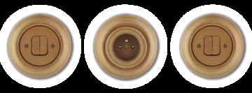 Kulatý vypínač a zásuvka z porcelánu Mulier Klasik hnědá korek.
