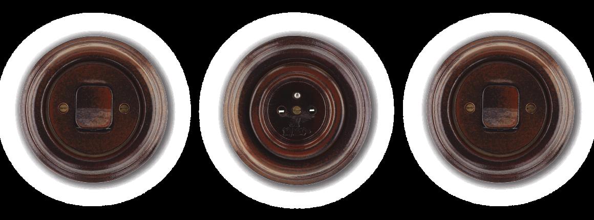 Vypínače a zásuvka z porcelánu Mulier Klasik hnědo černá. Kulaté do dřevostavby.
