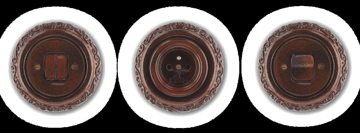 Zdobené vypínače a zásuvky Mulier Ornament hnědo černé. Porcelánové retro.