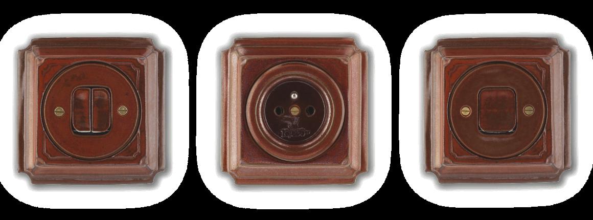 Zásuvky a vypínače vyrobené z porcelánu Mulier Jindřich hnědá mahagon. Krásné hranaté s ozdobnou linkou rytou ručně.