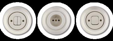Ručně vyrobené vypínače a zásuvky bílé Mulier Klasik. Retro z porcelánu.