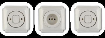 Retro vypínače a zásuvka Mulier Klasik bílá. Jsou hranaté vyrobené z keramiky a zdobené jemnou linkou.