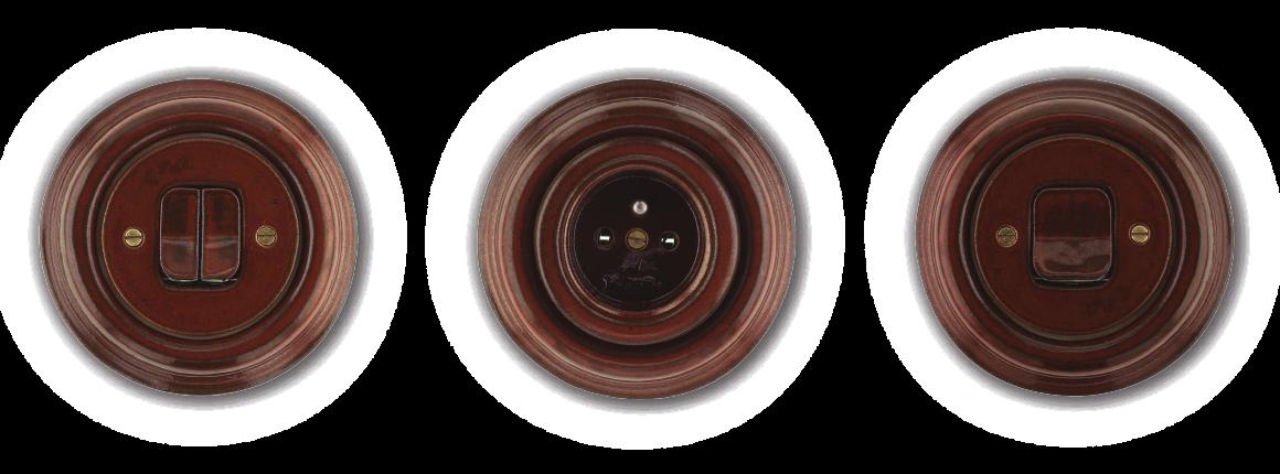 Vypínač a zásuvka z porcelánu Mulier Klasik hnědá mahagon. Kulatá.
