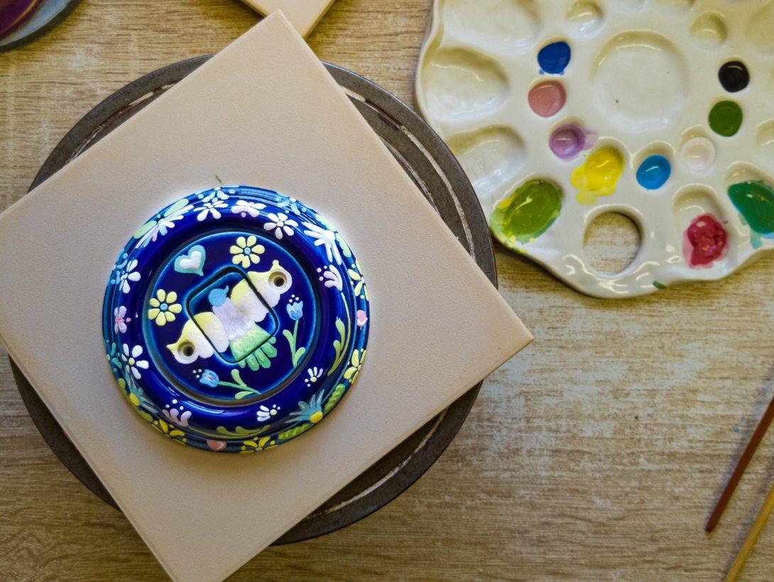 Retro vypínač Mexiko malovaný z porcelánu